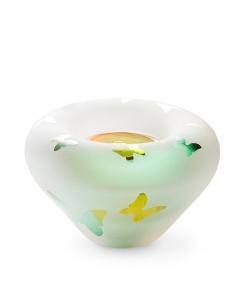 Frosted tealight gold-green met vlindertjes