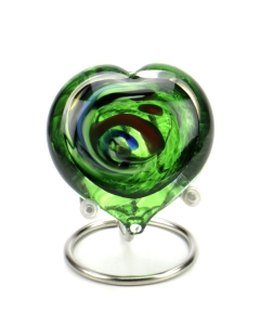 Pebble heart multi green